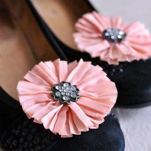 Peach Pink Flower Shoe Clips